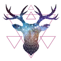 Abstract polygonal tirangle animal deer with open space background. Hipster animal illustration.