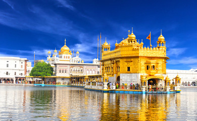 Beautiful view of golden temple shri darbar sahib in Amritsar, Punjab