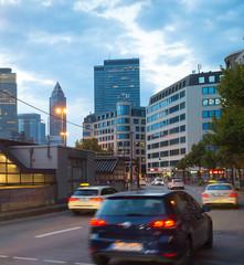 Fototapete - Traffic road Downtown Frankfurt Germany