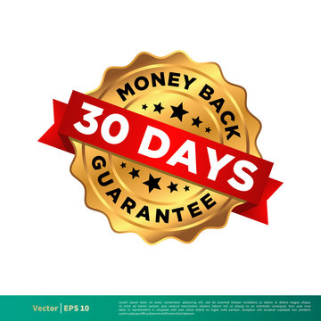 30 Days Money Back Guarantee Seal Banner Vector Template Illustration Design. Vector EPS 10.
