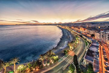 Fototapete - City of Nice at sunset on the French Riviera