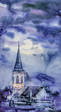 Watercolor hand painted winter landscape. Night church. Architecture