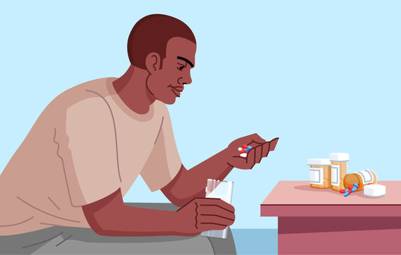 Drug addicted man flat vector illustration. Chronic pain medication. Mental illness. Dependence to psychotropic substances. Opiate use. Young man going to take pills cartoon character
