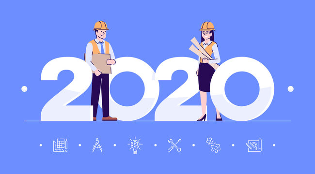 Professions 2020 flat banner vector template. Engineers isolated cartoon characters on blue. People in workwear, helmets with blueprints. Banner, brochure page, leaflet design layout, place for text