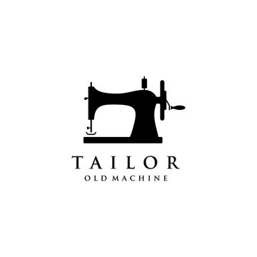 Tailor's vector logo design. Sewing old machine icon. Textile emblem. Clothes label.