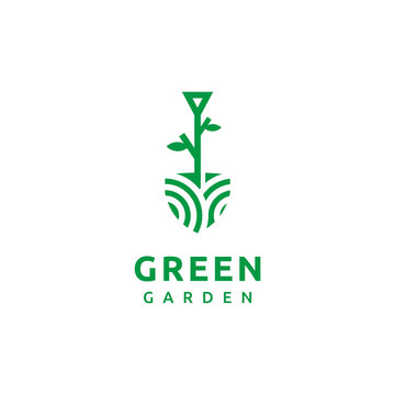 Shovel around which a green leaf concept template with sample text, green garden agriculture logo template vector illustration