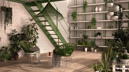Modern conservatory, winter garden, white and green interior design, lounge, rattan armchair, table. Mezzanine and iron staircase, parquet floor. Relax space full of potted plants