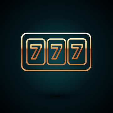 Gold line Slot machine with lucky sevens jackpot icon isolated on dark blue background. Vector Illustration