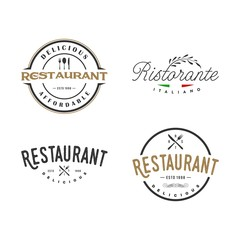 set of vintage restaurant logo, icon and illustration