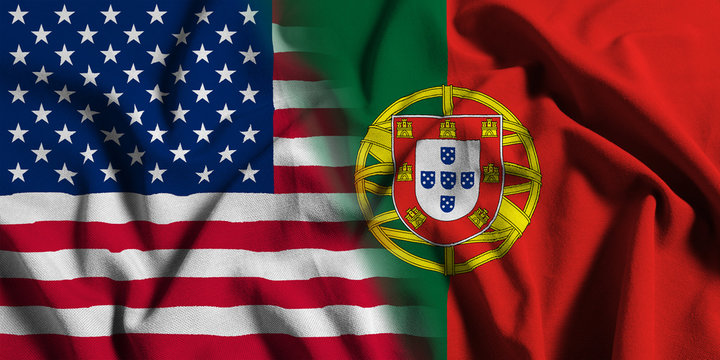 National flag of the United States with Portugal on a waving cotton texture background