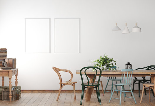 Mock up poster frame in farmhouse dining room with wooden colored chairs and table. Minimalist design in white background. 3D illustration.