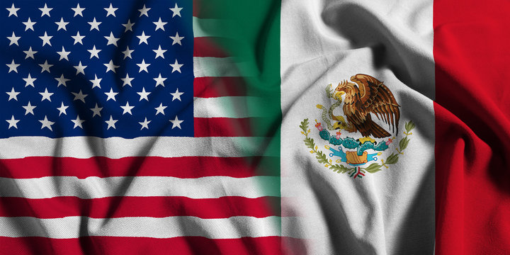 National flag of the United States with Mexico on a waving cotton texture background
