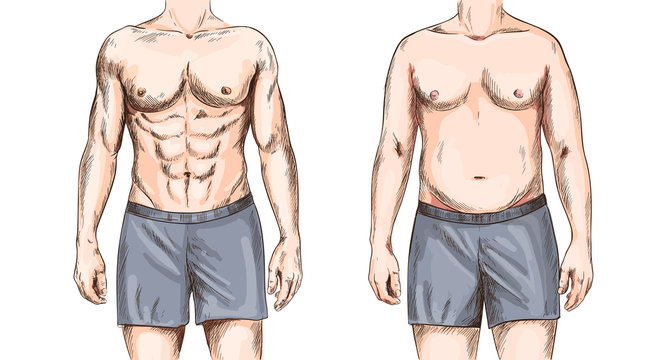 Two men bodies, fit and fat, full color sketch