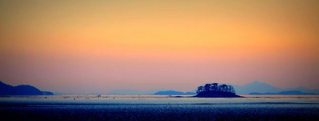 Foto auf Acrylglas Beige Sunset in Suncheon bay, South Korea