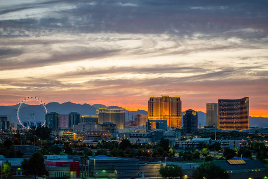 USA, Nevada, Clark County, Las Vegas. A scenic view of the famous Vegas skyline of casinos, hotels, and ferris wheel on the strip.