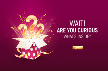 Open textured purple box with three golden question signs and confetti explosion inside on dark purple background. Winning gifts lottery vector illustration. Take a chance in gamble game