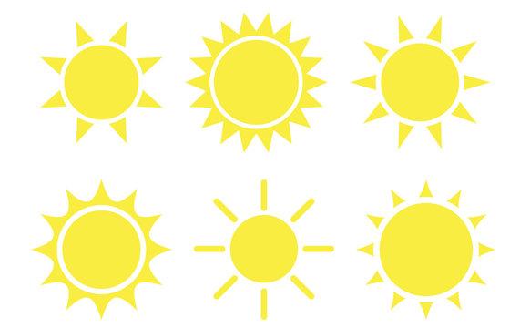 Sun flat style icon weather and sunshine set. Forecast logo symbol collection. Vector illustration image. Isolated on white background