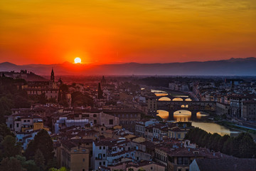 Wall Mural - panoramic view of the city of Firenze, Florence, Italy at sunset