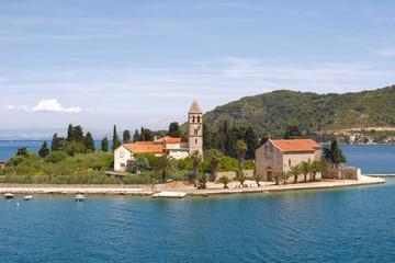 Prirovo Peninsula with Franciscan monastery,Vis Bay, Croatia