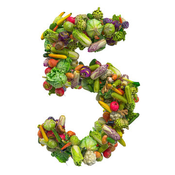 Number 5 from vegetables, 3D rendering