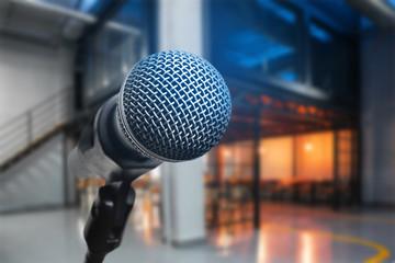 Spoed Foto op Canvas Muziekwinkel Stand with modern microphone indoors