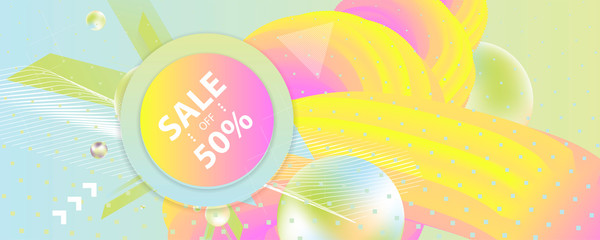 Summer backgrounds colorful pastel 3d holiday vector Illustration graphic design poster