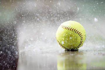 Softball in the pouring rain