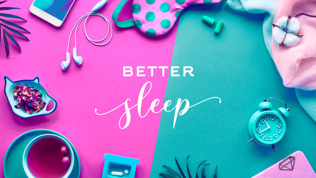 "Healthy night sleep creative concept. Sleeping mask, alarm clock, earphones, earplugs, tea and pills. Split two tone, pink and cyan background with circles and palm leaves. Text ""Better sleep""."