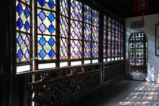 Suzhou,China-September 17, 2019: Lattice window or ornamental window at Humble Administrator's Garden or Zhuozheng yuan in Suzhou, China
