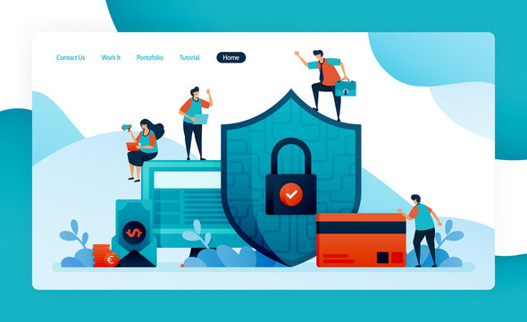landing page for financial security, banking protection for investment, credit, loans, debt, savings. customer data security and privacy, pay, buy, purchase. vector design flyer poster mobile apps ads