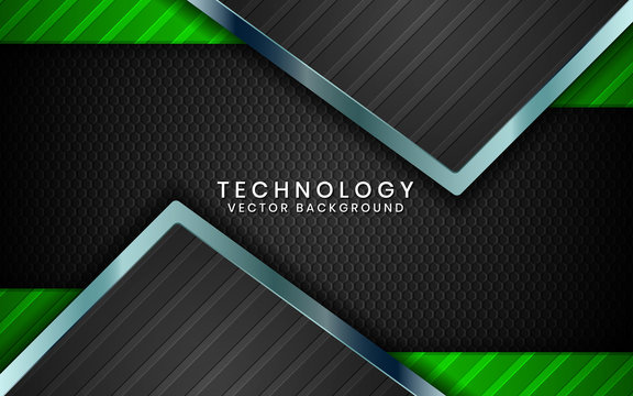 Abstract 3D black technology background overlap layers on dark space with green light effect decoration. Modern graphic design template elements for poster, flyer, brochure, or banner