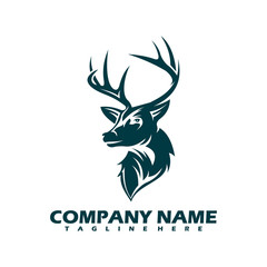 mono line design deer head isolated white background. Deer head gold logo icon