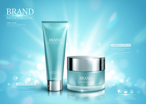 Shimmering blue cosmetic set ads