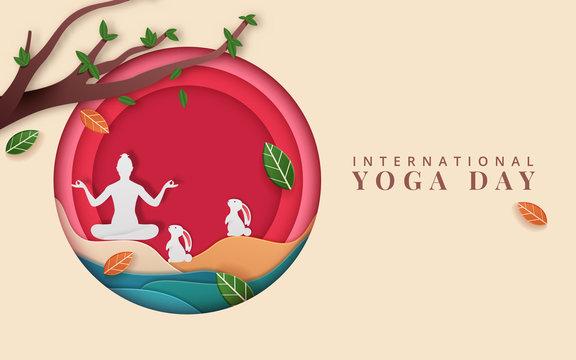 International Yoga Day vector illustration banner, brochure and poster design. June 21st celebrates world yoga day