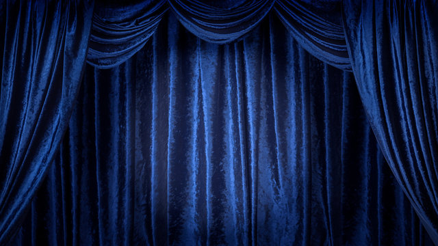 青いベルベットのステージ
