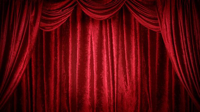 赤いベルベットのステージ