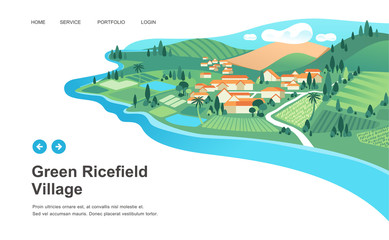 village with houses, ricefield, mountain and river landscape vector illustration Fototapete