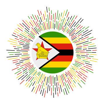 Zimbabwe sign. Country flag with colorful rays. Radiant sunburst with Zimbabwe flag. Vector illustration.
