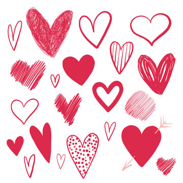 Set of doodle hearts drawn by hand. Isolated on white background