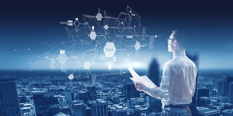 Global networking concept as concept for technology and business