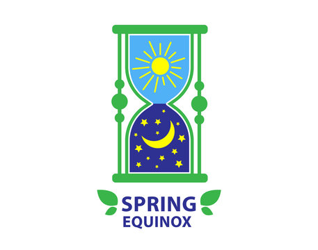 Day of spring equinox and autumn equinox. Day and Night background. Design concept.