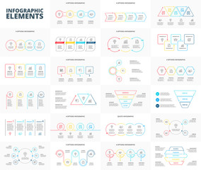 Thin line flat elements set for infographic. Template for diagram, graph, presentation and chart. Business concept with 3, 4, 5 and 6 options, parts, steps or processes