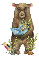 Watercolor cute brown bear holds in its paws a paper boat with a branch of blue berries, red flowers, yellow berries and leaves and with a cute  bird