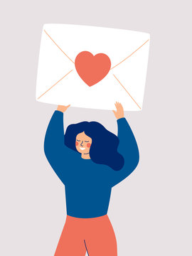 Happy woman holding a big envelope with a red heart above her head isolated on white background. Flat vector illustration.