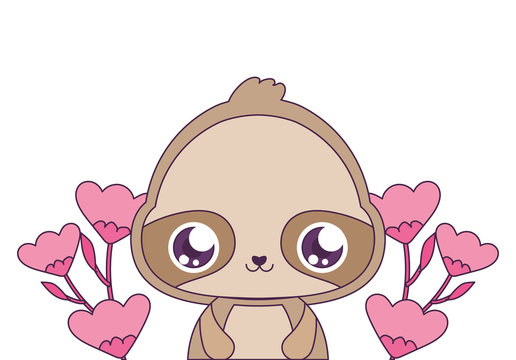 Kawaii sloth cartoon with flowers vector design