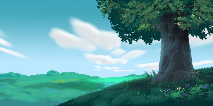 Anime Style Environment Background, Cartoon Illustration Cover
