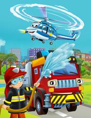 Photo sur Aluminium Voitures enfants cartoon scene with fireman vehicle on the road - illustration for children