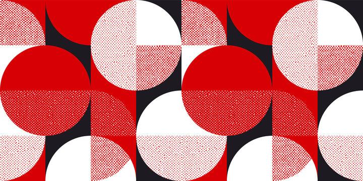 Red and black bauhaus style seamless pattern