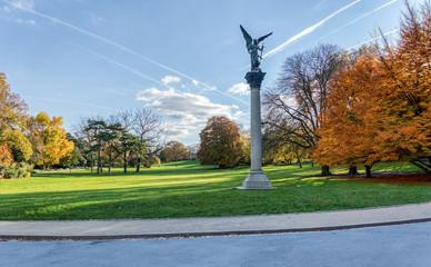 Column of the Armed Peace in Parc Montsouris in autumn (by Jules-Felix Coutan - 1848-1939) - Paris, France
