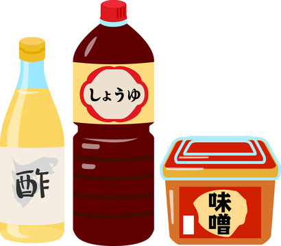 酢、醤油、味噌のイラストセット